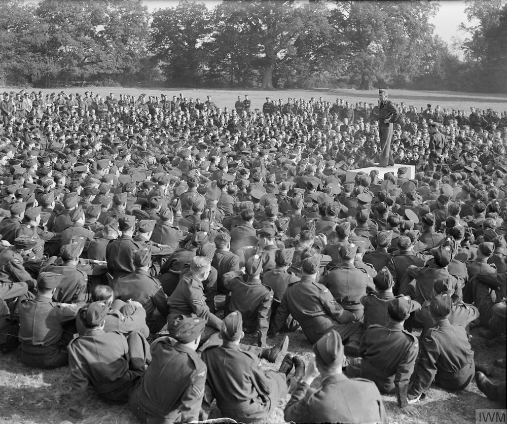Commander-in-chief Coningham addressing the air and ground crews at Hartford Bridge on the evening before D-day