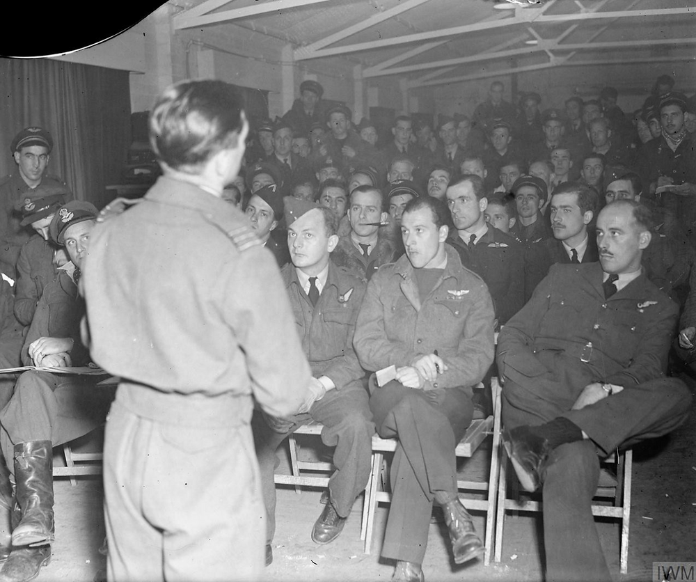 Final D-day briefing of Boston bomber crews at Hartford Bridge