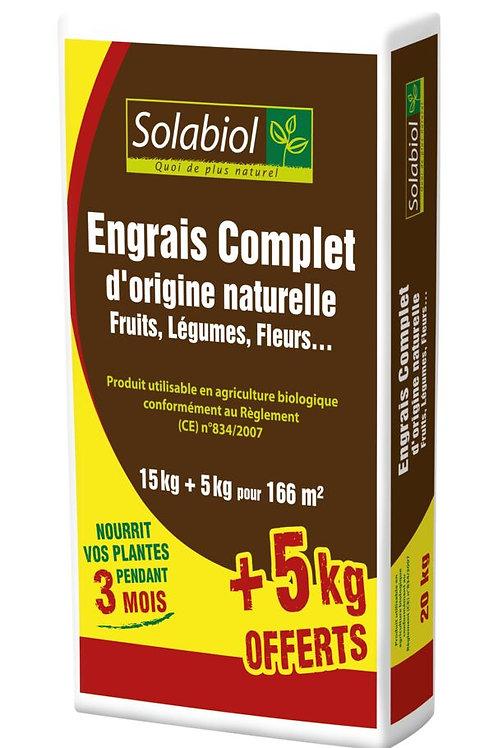 Engrais organique complet 15kg+5kg offerts solabiol (ref : w03086)