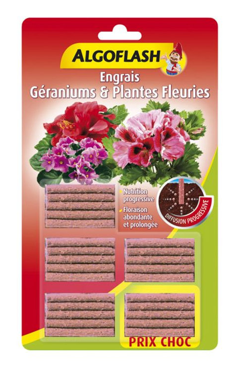 Engrais géraniums et plantes fleuries 25 bâtonnets algoflash (Ref : W03935)