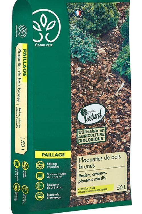 Paillage plaquette bois brun 50l Gamm Vert (ref : w75685)