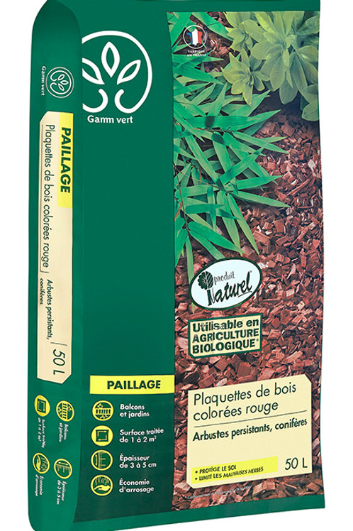 Paillage plaquette bois rouge 50l Gamm Vert (ref : w75686)