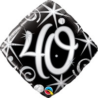 18in Age 40 Sparkles & Swirls 30012