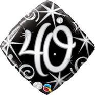 18in Age 40 Sparkles & Swirls 30012