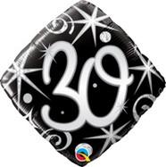 18in Age 30 Sparkles & Swirls 30007