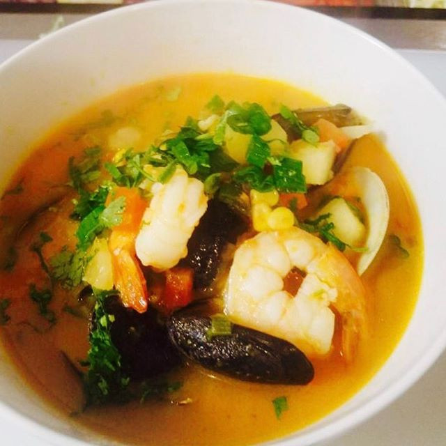 Seafood soup. Sopa de mariscos today in