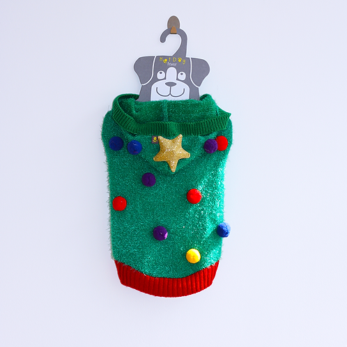 'CHRISTMAS TREE' KNITTED JUMPER. WITH FLASHING LIGHT