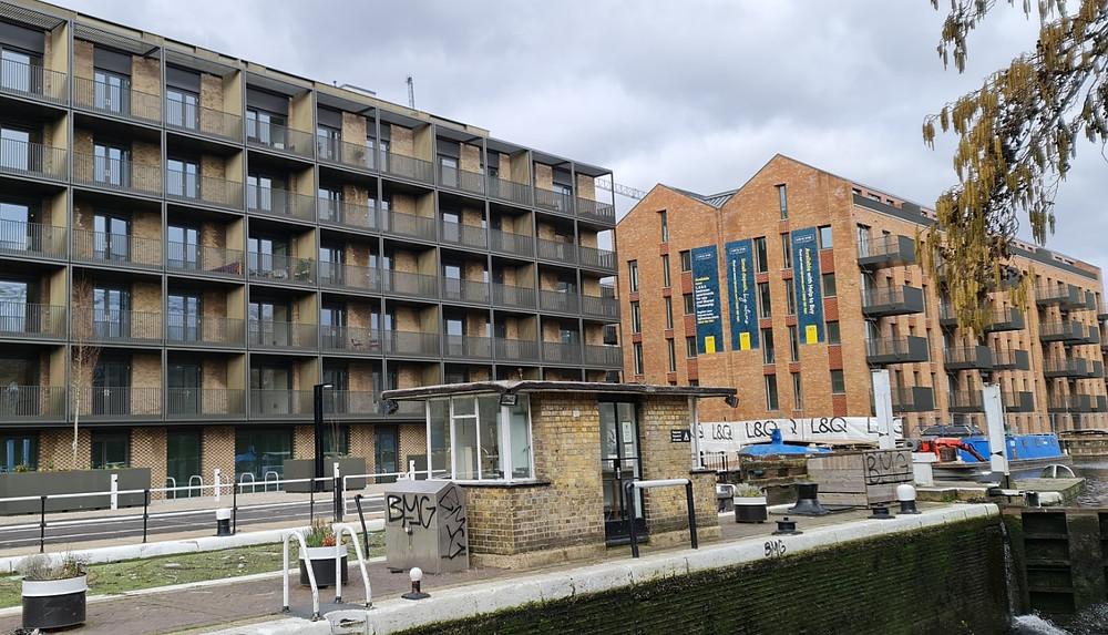 River view of a new build development Lock 9 in Fish Island Hackney Wick London