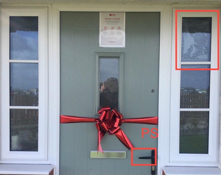 snagging inspection Redrow Amberley three bedroom house door and windows in Regent Quay Sittingbourne Kent