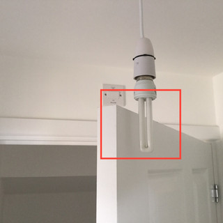A single pendant light positioned too low.