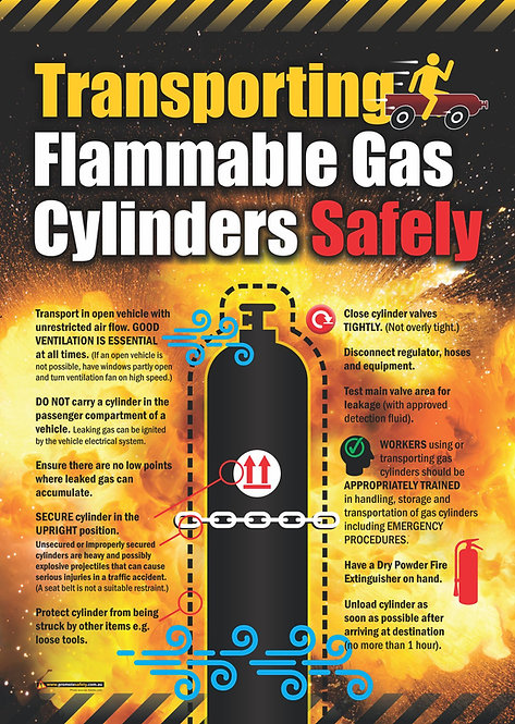 Transporting Flammable Gas Cylinders Safety Posters