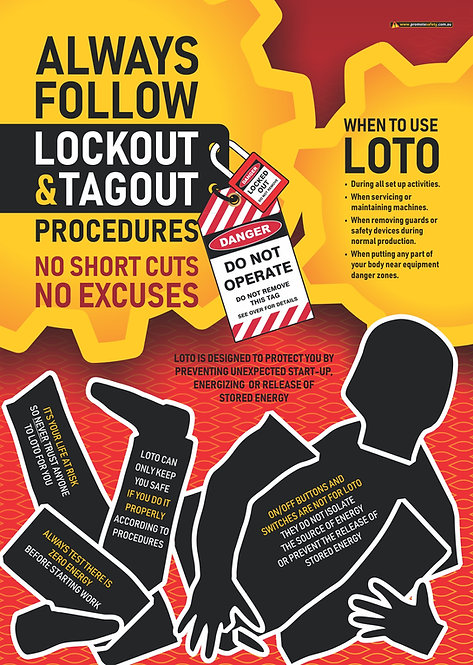 Lockout Tagout (LOTO) Safety Posters