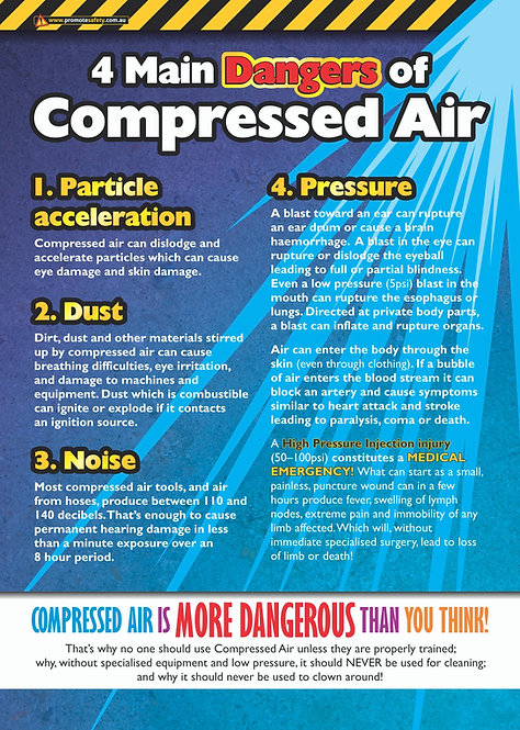 Compressed Air 4 Dangers Safety Posters