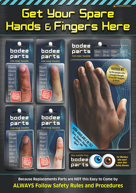 Hands & Fingers Replacement Parts Safety Poster