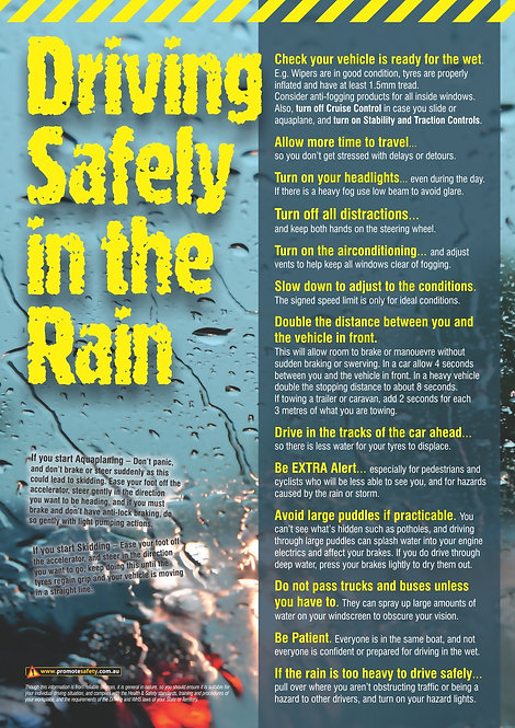 Driving in the Rain Safety Posters