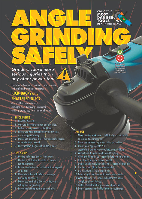 Angle Grinding Safely Safety Poster