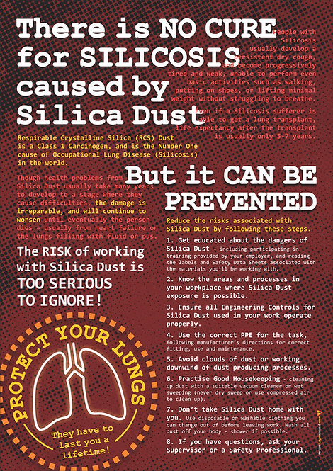 NO CURE for SILICOSIS Safety Posters
