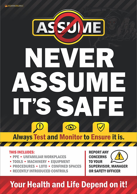 Never Assume It's Safe Safety Posters