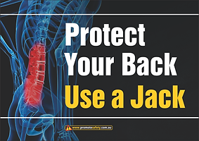 Protect Your Back Use Jack Safety Slogan