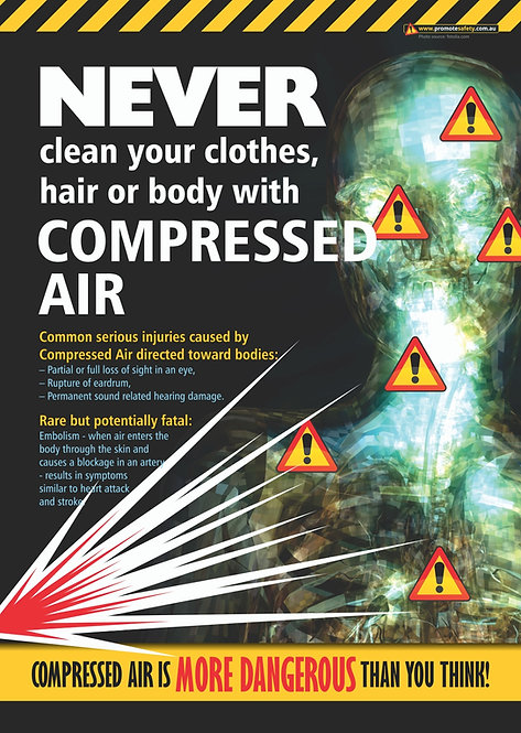 Compressed Air Not for Cleaning Yourself Safety Posters