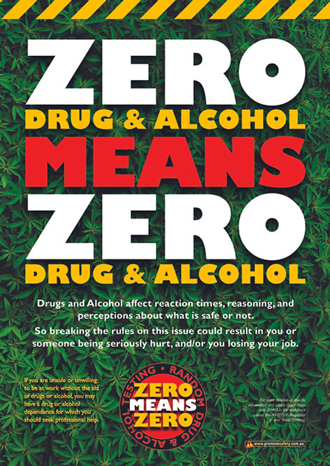 Zero Drug & Alcohol Policy Safety Posters