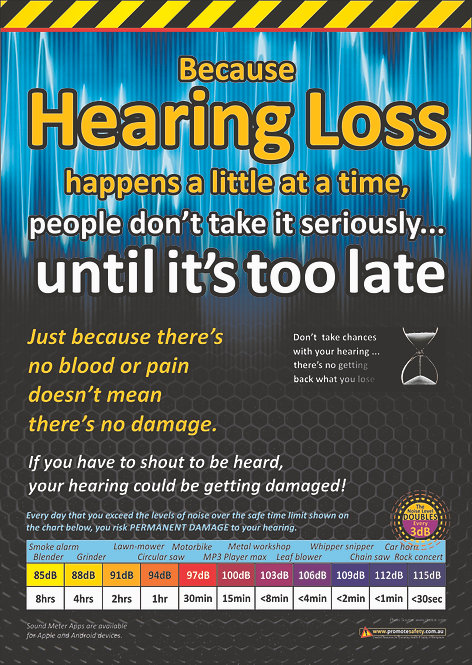 Before it's too Late Hearing Loss Safety Posters