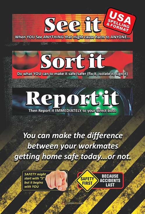 See It Sort It Report It Safety Posters