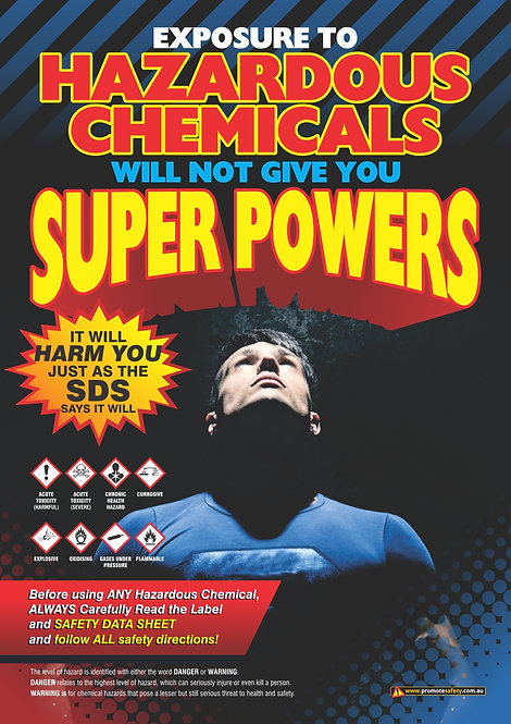 Hazardous Chemicals Super Powers Safety Posters