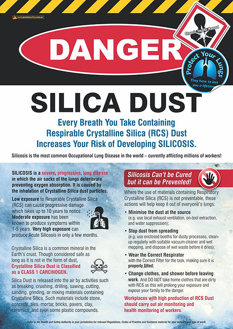 Silica Dust DANGER Safety Posters