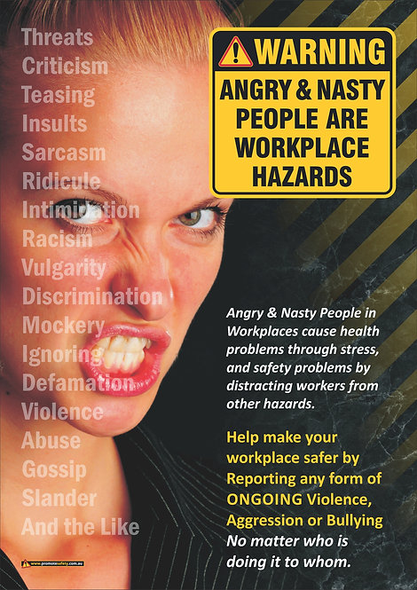 Angry People Are Hazards Safety Posters