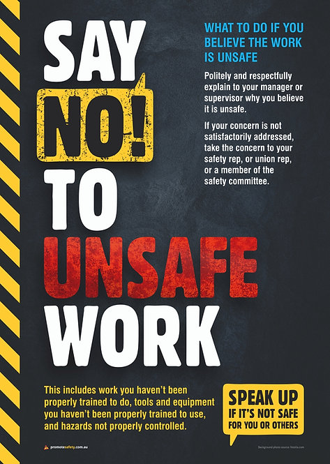 Say NO to Unsafe Work Safety Posters