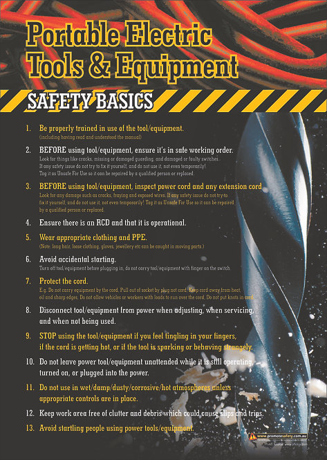 Portable Electrical Tools and Equipment Safety Posters