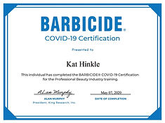 BARBICIDE COVID-19 Certificate for Kat H