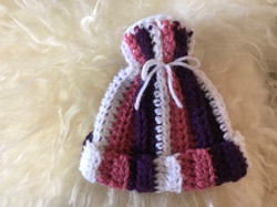 Pink and Gray Striped Hat by Nancy MacDowell