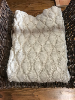 Large Afghan Cream by Hilary Silver