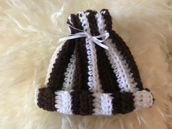 Brown and White Striped Hat by Nancy MacDowell