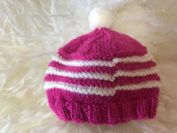 Pink and White Striped Hat by Carol P.