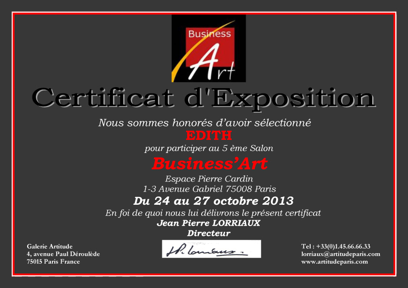 Certificat EDITH BUSINESS Art 2013.