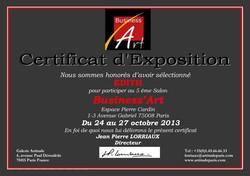 Certificat EDITH BUSINESS Art 2013.