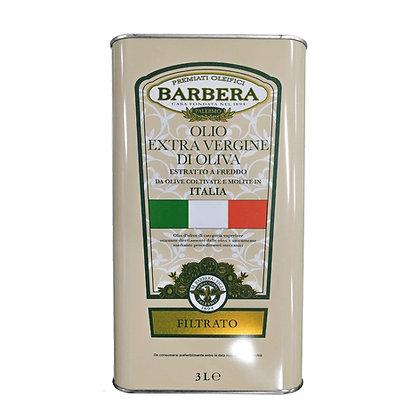 E.V.O. Oil Filtrato 100% Italian Olives Barbera - 3 Liter