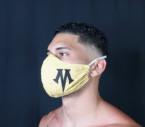 """Gold Patterned Mask with signature comfort strap - embroidered """"M"""""""