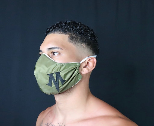 "Olive Mask with signature comfort strap - embroidered ""M"""