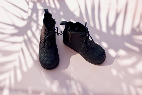 Woven Black Leather Boot for Kids
