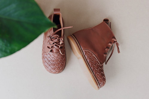 Woven Tanned Leather Boot for Kids
