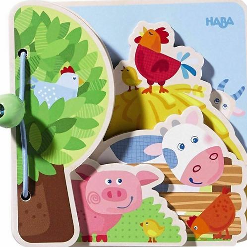 Wooden Baby Book - Farm Friends