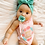 Thumbnail: Sweetie Soother Pacifier | Aqua and Peach Bows