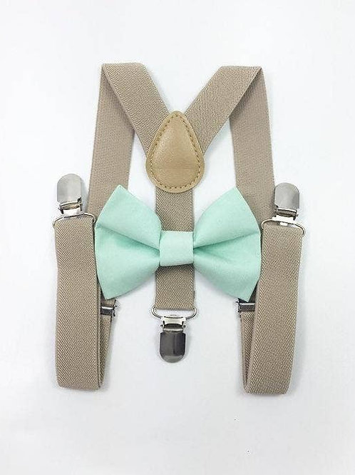 Bow Tie and Suspender Set - Mint/Tan