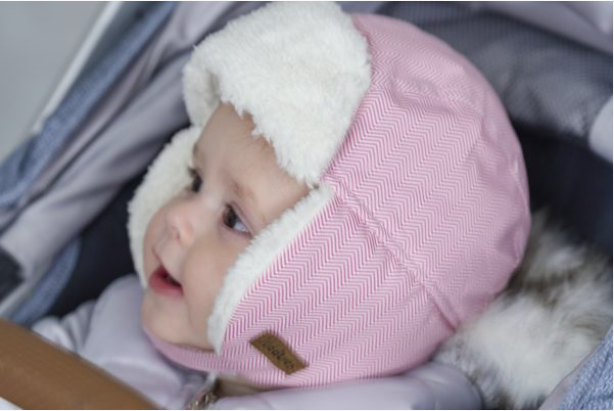 Herringbone Pink Winter Hat 1