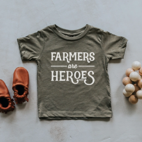 Farmers Are Heroes T-Shirt | Olive