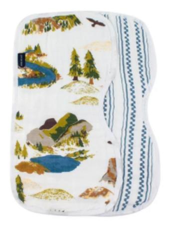 Contoured Muslim Burp Cloths   Western Stripe & Wyoming
